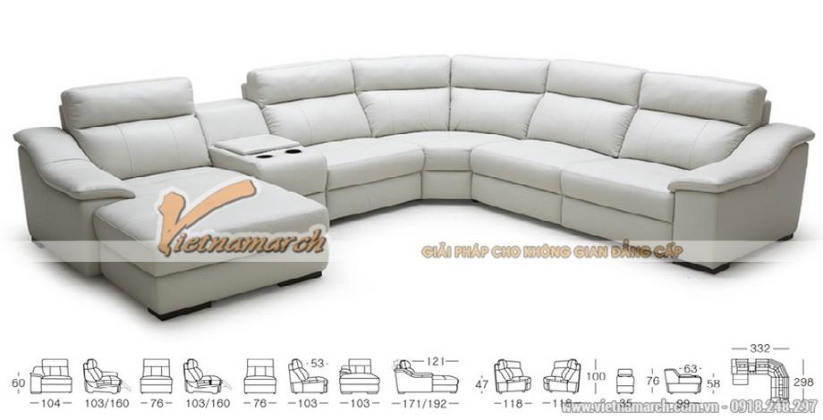 Mẫu ghế sofa góc cỡ lớn chất liệu da Jess - 02