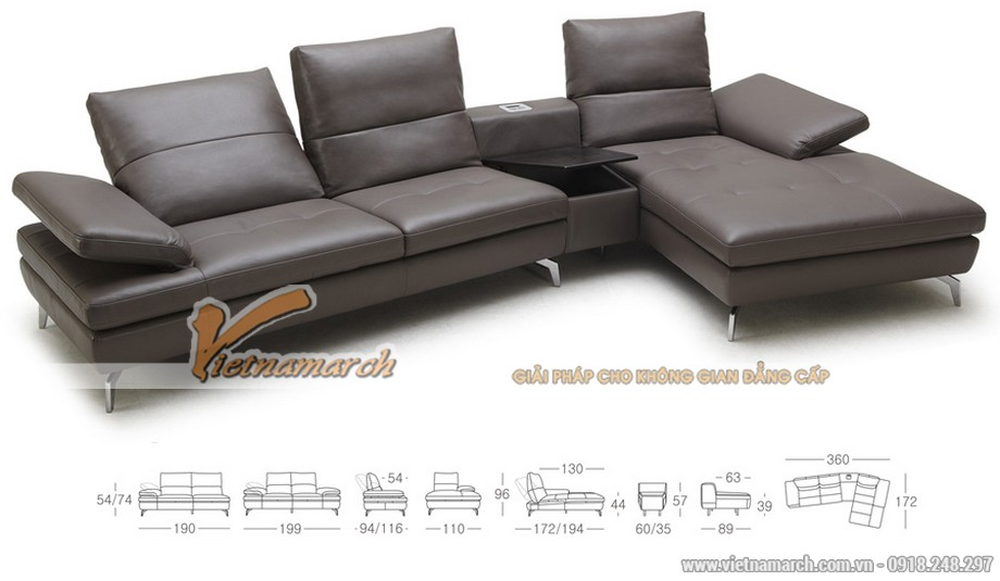 Mẫu ghế sofa góc chất liệu da tổng hợp - 02