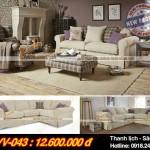 Mẫu ghế sofa vải nỉ Shik với thiết kế kiểu dáng Tây Âu – Mã: SVV-043