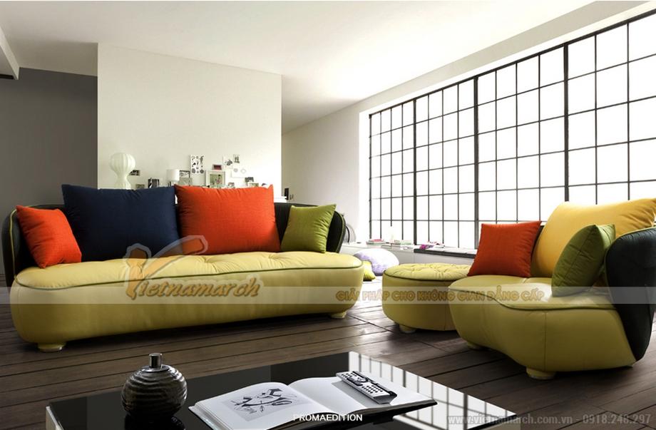 Mẫu sofa da thiết kế trẻ trung, cho những căn hộ hiện đại