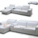 Sofa da màu trắng cao cấp, sofa góc dành cho phòng khách chung cư – Mã: SDG-012