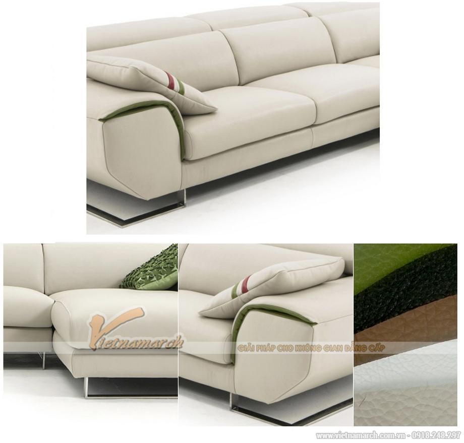 Sofa da màu trắng cao cấp, sofa góc dành cho phòng khách chung cư