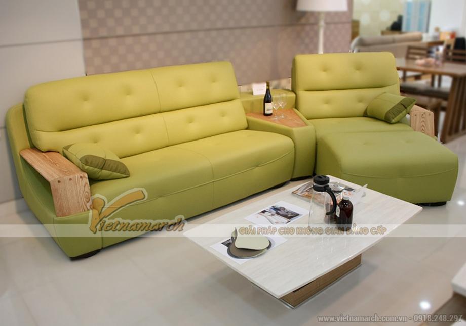 Sofa da tay gỗ thiết kế hiện đại