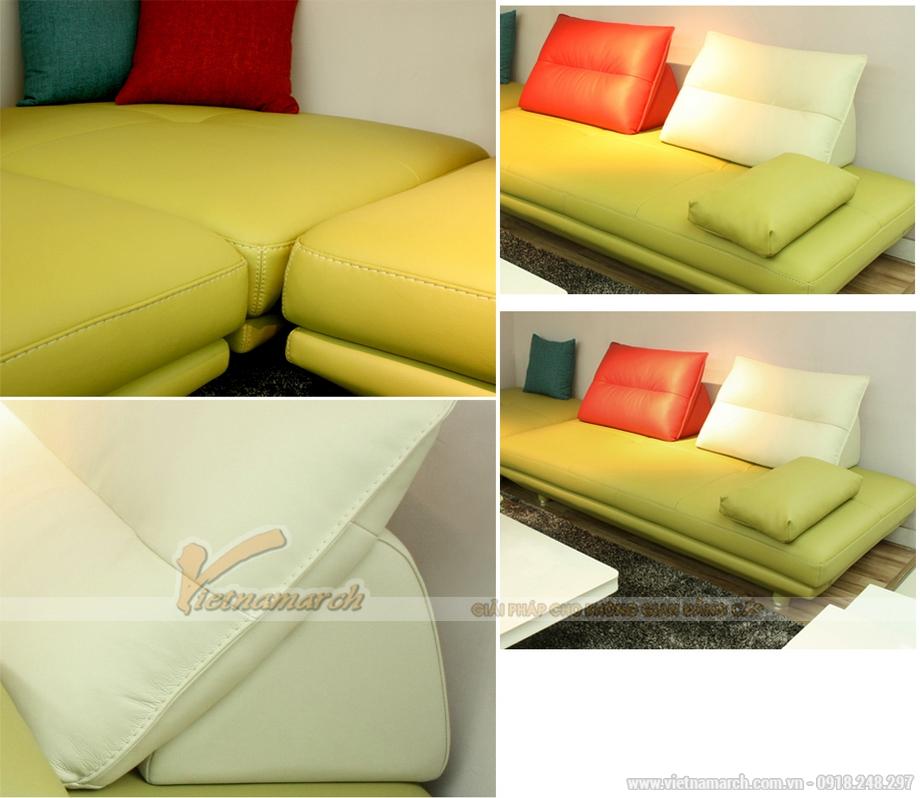 Sofa đôi bọc da 2,2m cho căn hộ chung cư diện tích nhỏ