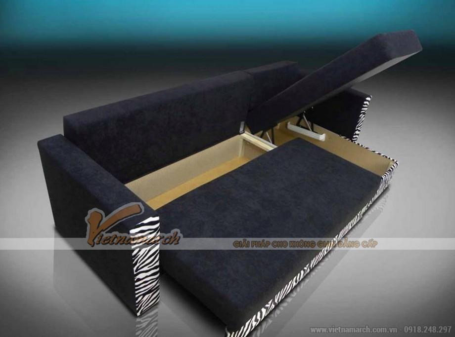 Mẫu ghế sofa bed vải nỉ đen tuyền nhiều khối linh hoạt lắp đặt-03