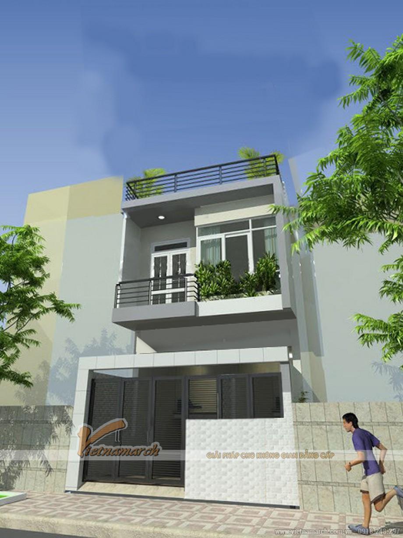 Phối cảnh mặt tiền nhà mặt phố 2 tầng đẹp hiện đại