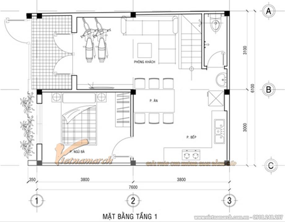 Thiết kế mặt bằng tầng 1 cho nhà mặt phố 2 tầng đẹp hiện đại