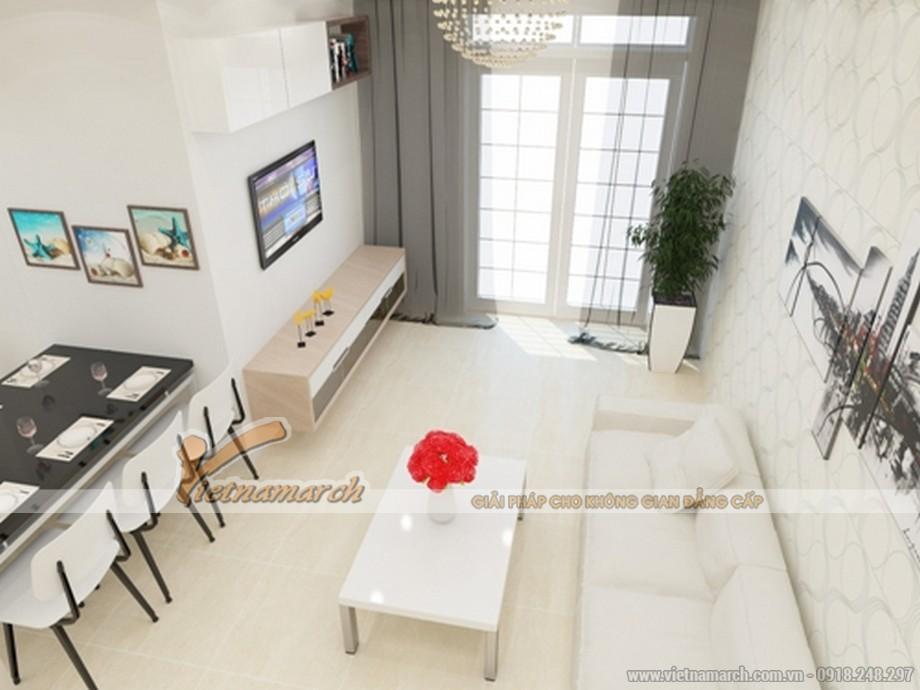 Nội thất phòng khách cho nhà mặt phố 2 tầng đẹp hiện đại