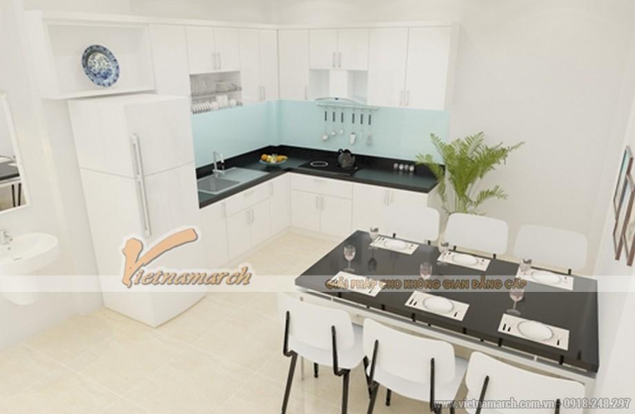 Nội thất phòng bếp cho nhà mặt phố 2 tầng đẹp hiện đại