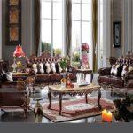 Bộ ghế sofa da khung gỗ tân cổ điển SCD001