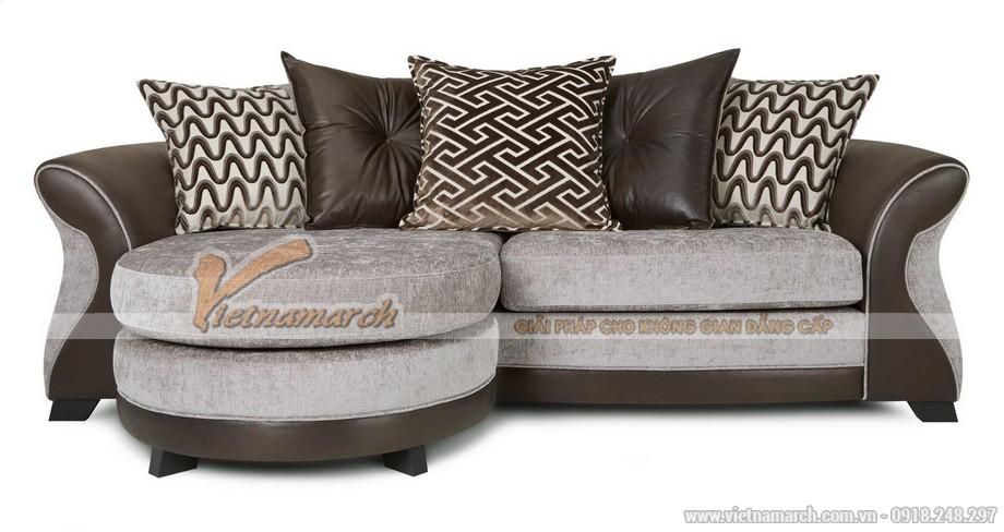 Sofa góc vải nỉ kết hợp da, mẫu thiết kế phá cách trẻ trung gọn gàng - Mã: SVG-056