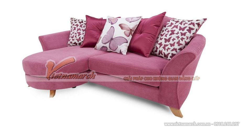 Mẫu ghế sofa góc vải nỉ hồng cá tính điệu đà cho bạn gái xinh - Mã: SVG-054