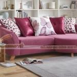 Mẫu ghế sofa góc vải nỉ hồng cá tính điệu đà cho bạn gái xinh – Mã: SVG-054