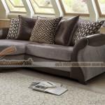 Sofa góc vải nỉ kết hợp da, mẫu thiết kế phá cách trẻ trung gọn gàng – Mã: SVG-056