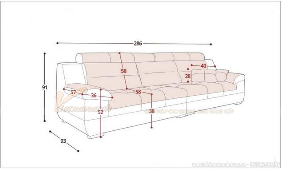 Kích thước mẫu sofa da văng SDV-001 tiêu chuẩn