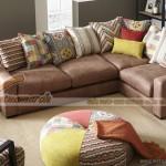 Mẫu ghế sofa góc vải Nhung giả da bò cao cấp cho phòng khách – Mã: SVG-033