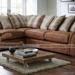 Mẫu ghế sofa vải nỉ nâu đỏ tân cổ điển dành cho người trung niên – Mã: SVG-020