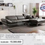 Mẫu ghế sofa da chữ L kiểu dáng Hàn Quốc sang trọng – Mã: DG104