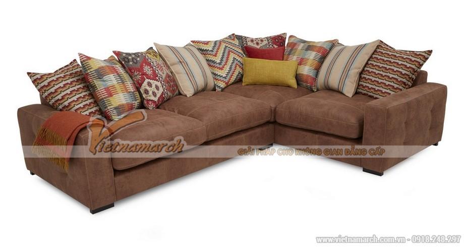 Mẫu ghế sofa góc vải Nhung giả da bò cao cấp cho phòng khách - Mã: SVG-033