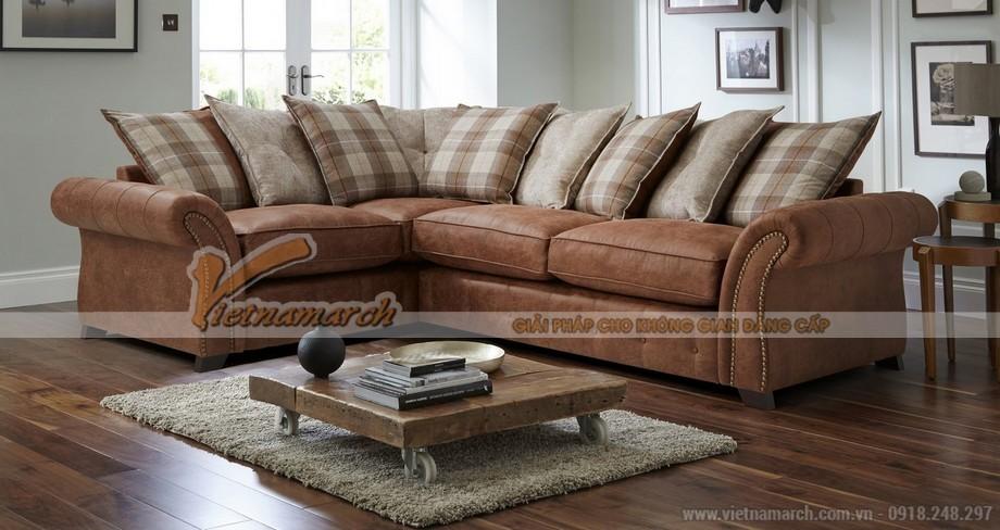 Mẫu ghế sofa vải nỉ nâu đỏ tân cổ điển dành cho người trung niên - Mã: SVG-020