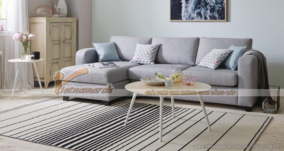 Mẫu ghế sofa góc vải nỉ nhập khẩu Đài Loan màu ghi cho phòng khách