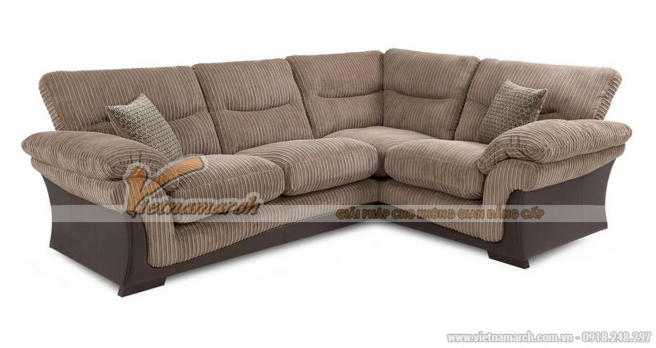 Mẫu ghế sofa văng vải Nhung nâu sữa sang trọng cho biệt thự - Mã: SVV-018