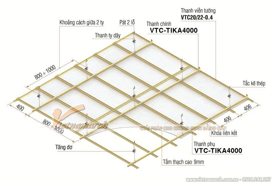 Khung trần thạch cao chìm Tika (khung tiết kiệm)-03