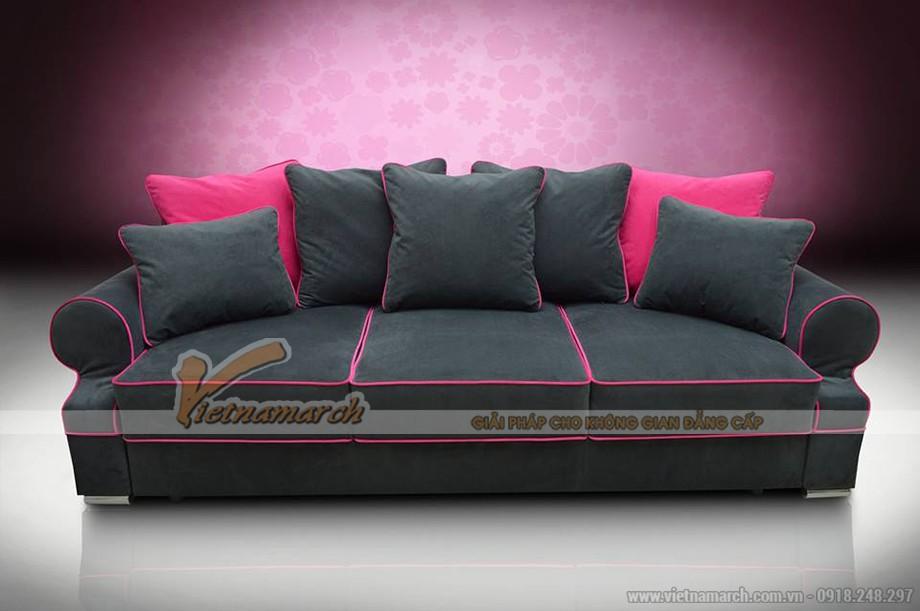 Mẫu ghế sofa văng vải nỉ nền đen kẻ đỏ quyến rũ cho phái nữ - Mã: SVV-006