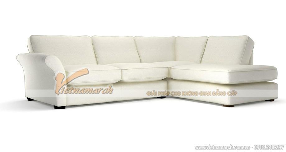 Mẫu ghế sofa góc vải nỉ trắng tinh tế cho nhà thêm sang trọng - Mã: SVG-046