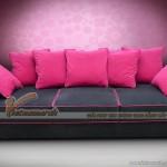 Mẫu ghế sofa văng vải nỉ nền đen kẻ đỏ quyến rũ cho phái nữ – Mã: SVV-006
