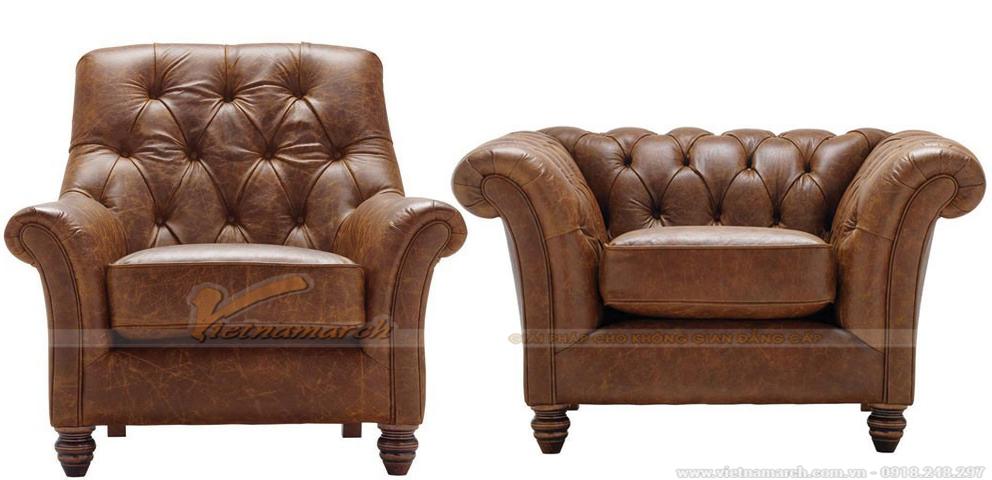 Hai dáng ghế đơn của bộ ghế sofa da cổ điển SCD-004 bạn có thể lựa chọn.
