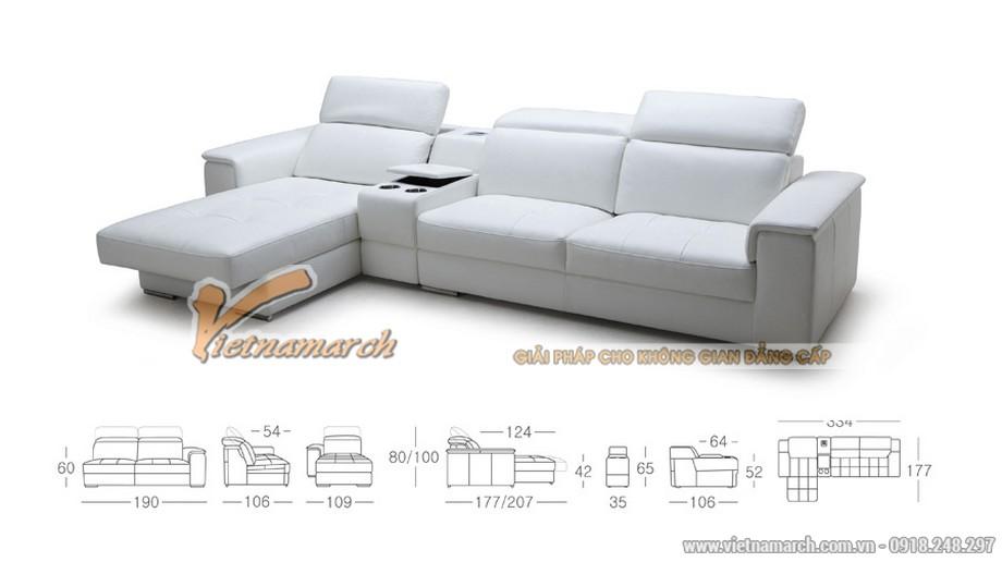 Mẫu ghế sofa da góc bản rộng cho phòng khách lớn - 01