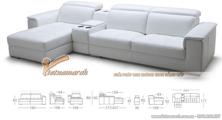 Mẫu ghế sofa da góc bản rộng cho phòng khách lớn - 02