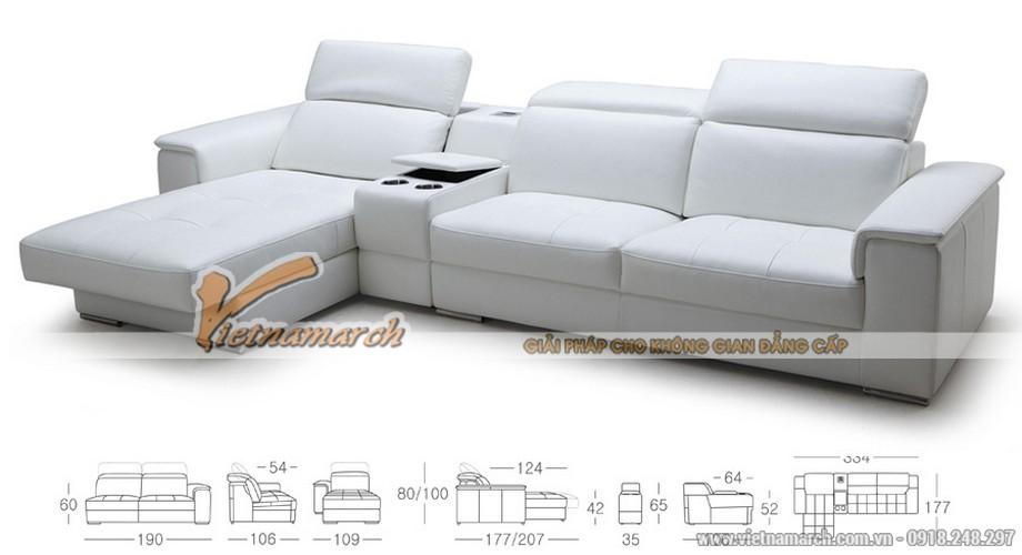 Mẫu ghế sofa da góc bản rộng cho phòng khách lớn - 03