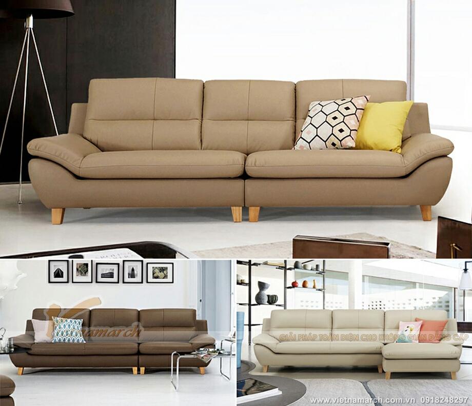 Mẫu ghế sofa da văng nhập khẩu Ấn Độ cực tiện lợi cho phòng khách