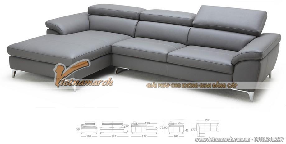Mẫu ghế sofa góc da nhập khẩu công nghệ Đài Loan - 02