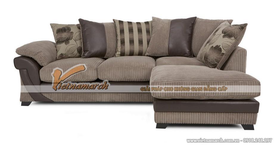 Mẫu ghế sofa góc kết hợp bọc da và vải mới lạ