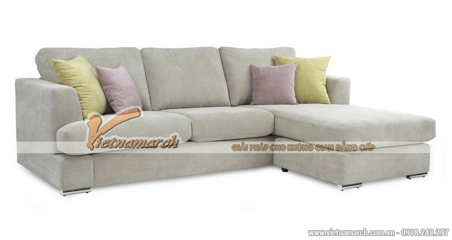 Mẫu ghế sofa trắng sáng dáng góc nhẹ nhàng nữ tính cho phòng khách - Mã: SVG-028