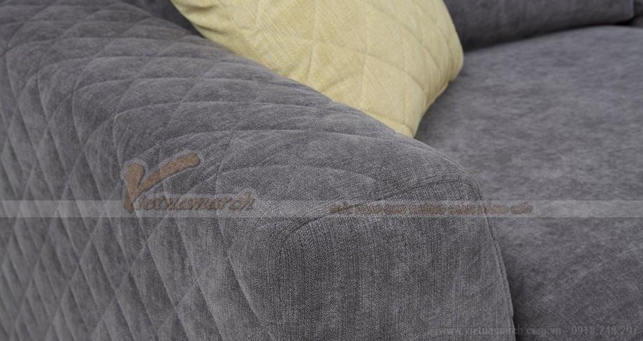 Mẫu ghế sofa góc vải nỉ khung gỗ dầu