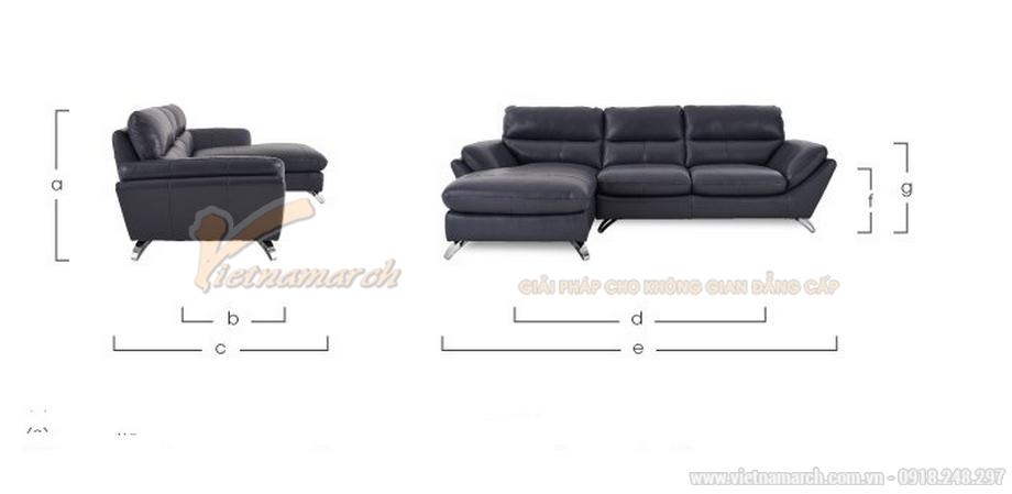 Mẫu sofa góc chất liệu da nhập khẩu Malaysia kích thước đạt tiêu chuẩn của người châu Á.