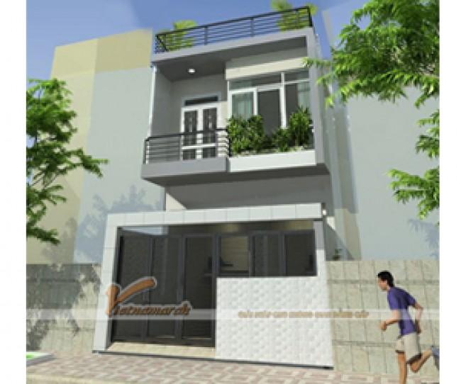 Thiết kế nhà mặt phố 2 tầng đẹp hiện đại - chi phí xây dựng chỉ 500 triệu
