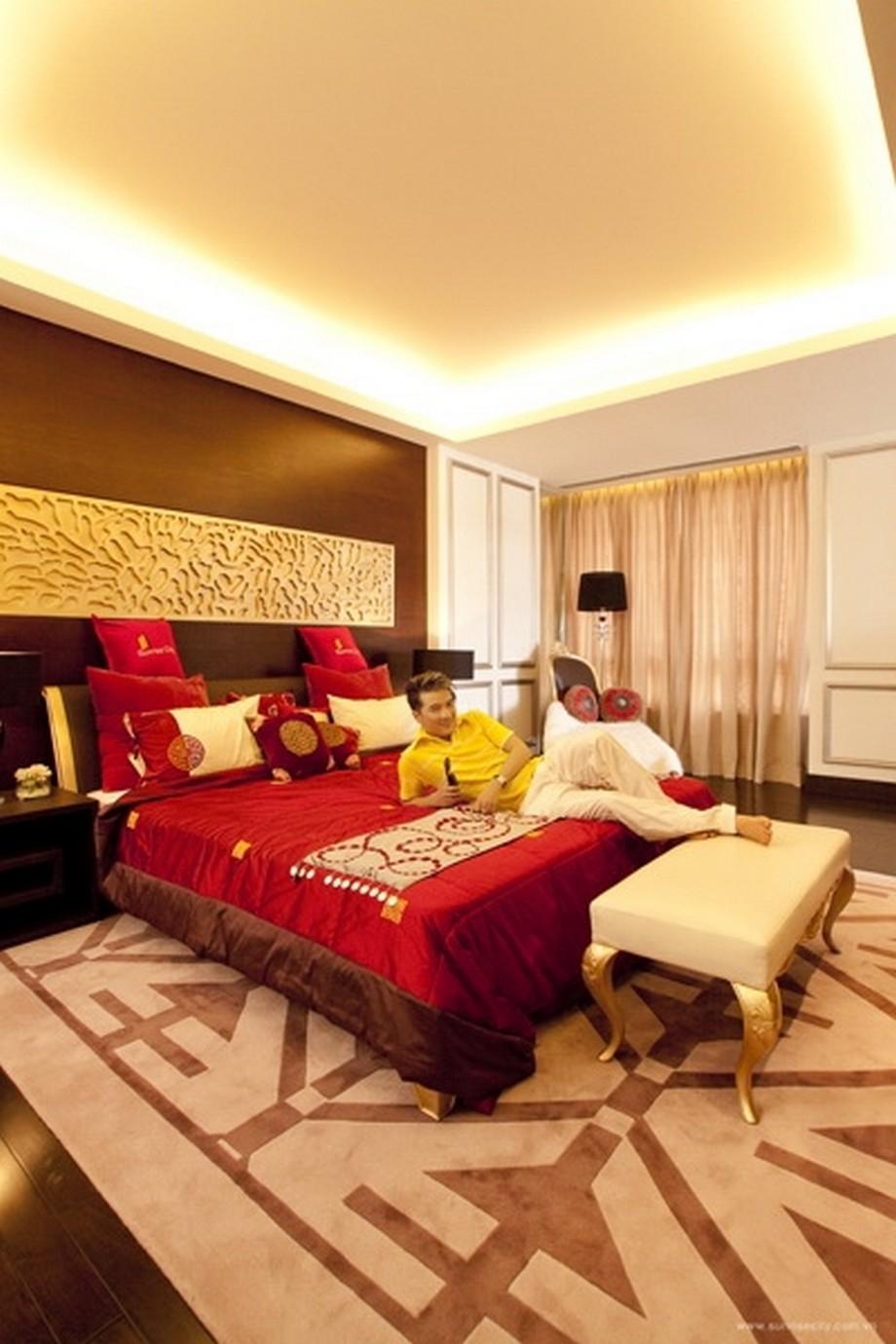 Phòng ngủ được thiết kế lạ mắt và sang trọng đúng chuẩn gout của Mr Đàm