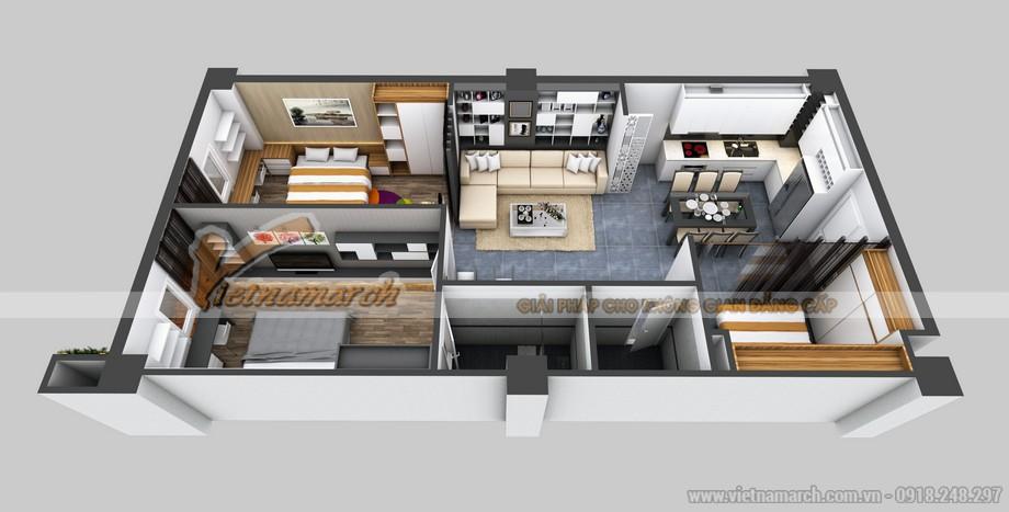 Phương án cải tạo căn hộ B2 cho anh Trung ở chung cư Đông Đô