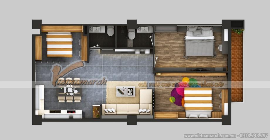 Không gian rộng rãi , nội thất đẹp mắt sau khi được cải tạo của căn hộ B2