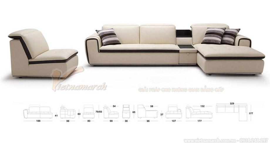 Mẫu ghế Sofa góc SDG-101 chất liệu da công nghiệp cao cấp cho phòng khách - 02