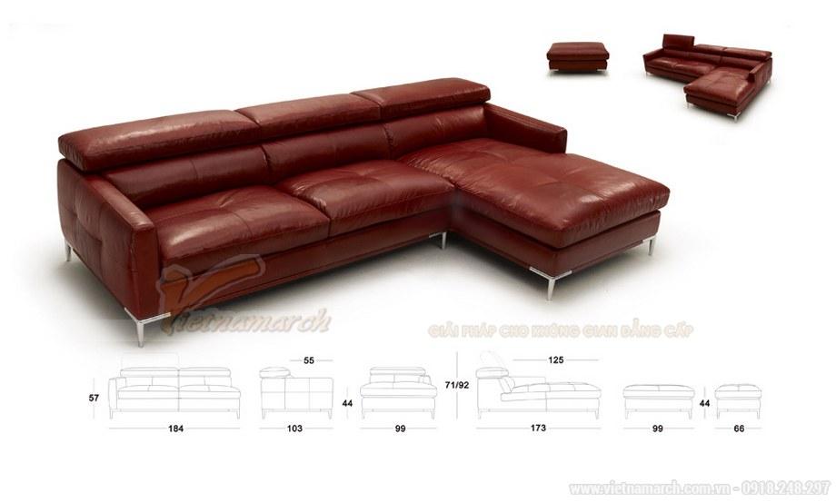 Ghế sofa góc VNSD055 hiện đại da bóng màu đỏ chữ L cao cấp - 01