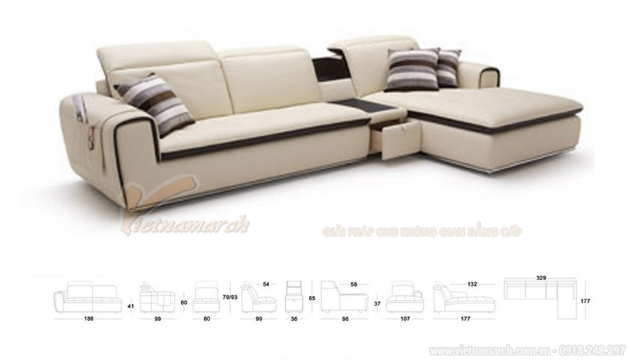 Mẫu ghế Sofa góc SDG-101 chất liệu da công nghiệp cao cấp cho phòng khách - 03