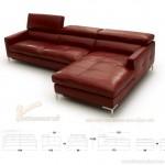 Ghế sofa góc hiện đại da bóng màu đỏ chữ L cao cấp – Mã: SDG-055