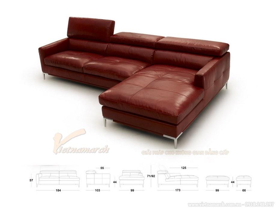 Ghế sofa góc VNSD055 hiện đại da bóng màu đỏ chữ L cao cấp - 02