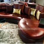 Mẫu ghế Sofa góc da nhập khẩu cao cấp cho phòng khách biệt thự – Mã: SDG-100